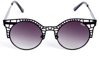 Quay Fleur Cutout Black Round Metal Sunglasses