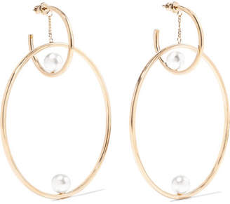 Chloé Darcey Gold-tone Faux Pearl Hoop Earrings