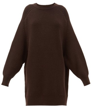 Raey Oversized Crew Neck Ribbed Wool Sweater - Womens - Dark Brown