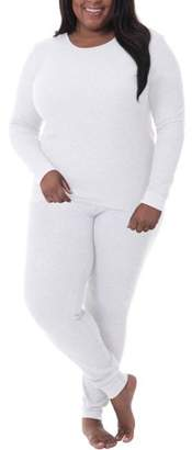 Fruit of the Loom Fit for Me by Women's and Women's Plus Size Waffle Thermal Underwear Top and Pant Set