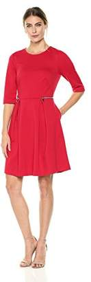 Lark & Ro Amazon Brand Women's Half-Sleeve Fit and Flare Dress with Zipper Pockets