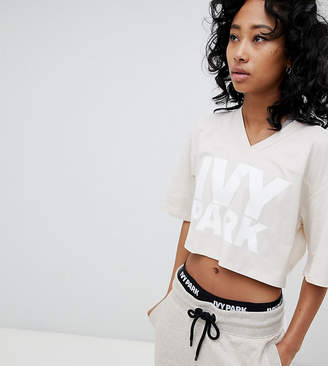Ivy Park Logo Cropped T-Shirt In Oatmeal