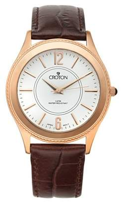 Croton Men's Stainless Rosetone Dress Watch w/White Dial & Brown Leather Strap