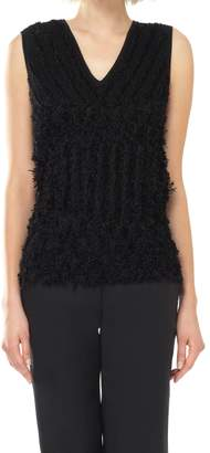 Max Studio Textural Knitted Sleeveless V-neck Sweater