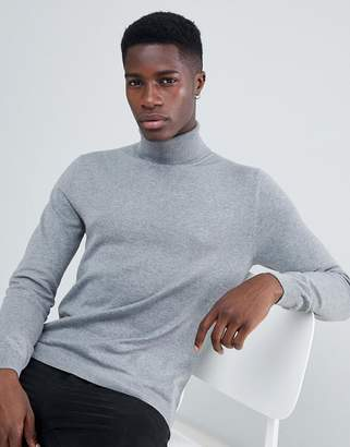 Esprit Turtleneck Sweater In 100% Cotton In Gray