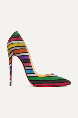 Christian Louboutin So Kate 120 Striped Glittered Suede Pumps - Metallic