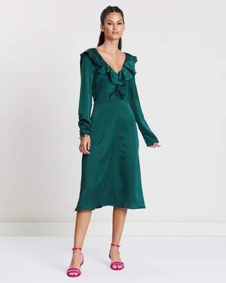 Missguided Satin Frill Neck Midi Dress