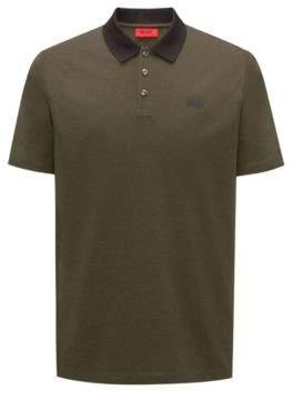 HUGO Boss Polo shirt in Oxford cotton pique contrast collar M Dark Green