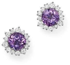Bloomingdale's Amethyst and Diamond Halo Stud Earrings in 14K White Gold - 100% Exclusive