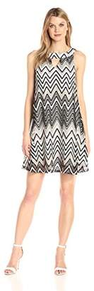 Sharagano Women's Sleeveless Chevron Stripe Dress with Cut Out Neck