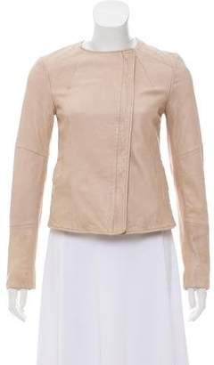 Whistles Lamb Leather Collarless Jacket