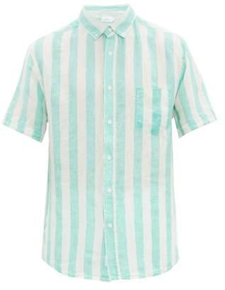 Onia Jack Striped Slubbed Linen Poplin Shirt - Mens - Green White