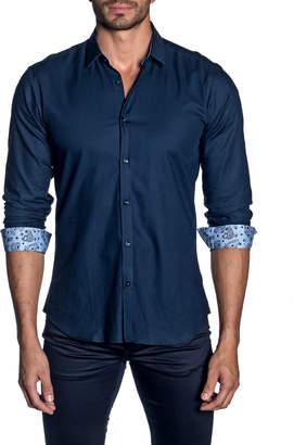 Jared Lang Men's Long-Sleeve Button-Down Micro-Woven Shirt w/ Paisley Facing