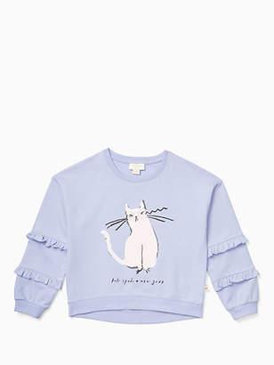 Kate Spade Girls cat glasses sweatshirt