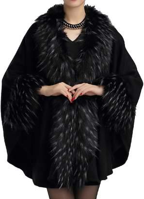 Helan Apparel Helan Women's Fashion Luxury Pure Color Faux Fur Cape Coat