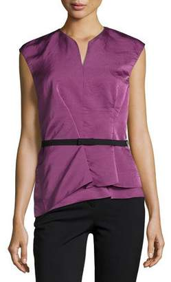 Narciso Rodriguez Belted Modern Peplum Silk Top, Pink