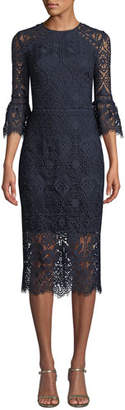 Shoshanna Louisa Lace Sheath Dress w/ Trumpet Sleeves