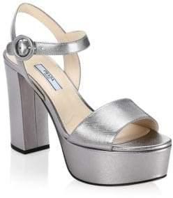 Prada Metallic Cromo Platform Sandals