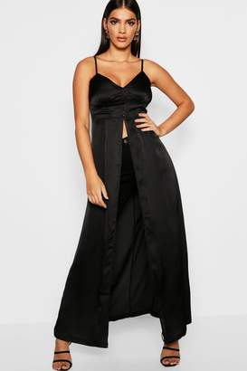 boohoo Premium Satin Button Detail Maxi Cami