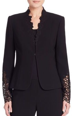 Elie Tahari Corrian Lace Cutout Sleeve Jacket $468 thestylecure.com