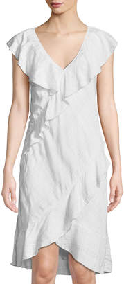 Max Studio Flounce-Trimmed V-Neck Mini Dress