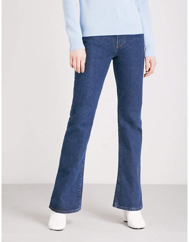 Flared slim-fit high-rise jeans