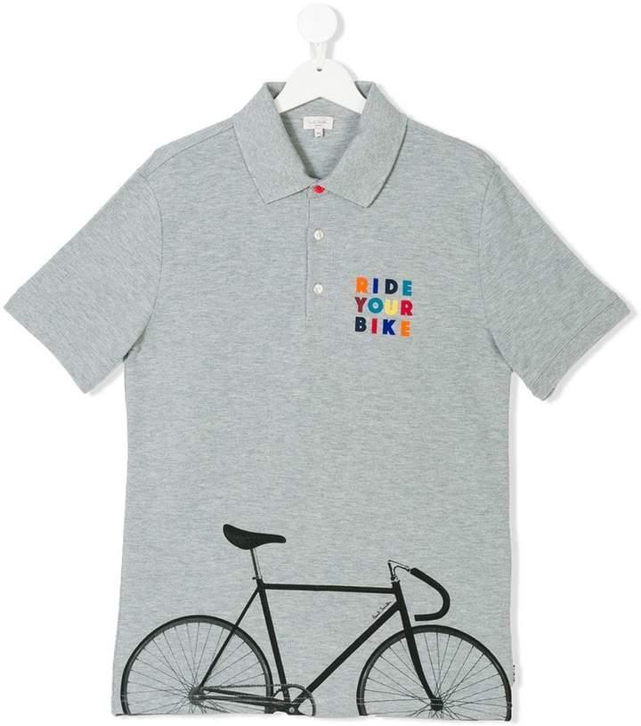 bike print polo shirt
