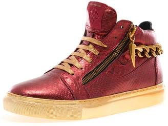 Jump J75 Men's Zack Chain Round Toe Rear Zipper Leather Lace-Up High-Top Sneaker