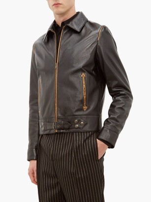 Saint Laurent Metallic Piped Leather Jacket - Mens - Black