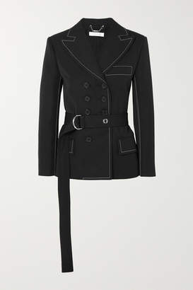 Chloé Belted Double-breasted Twill Blazer - Black
