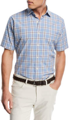 Peter Millar Rockport Plaid Short-Sleeve Shirt, Medium Blue