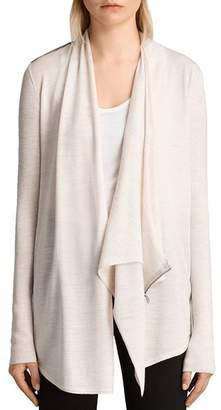 AllSaints Drina Ribbed Merino Wool Cardigan