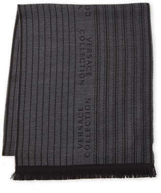 Versace Stripe Logo Frayed Scarf
