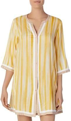 Donna Karan Striped Short Sleepshirt