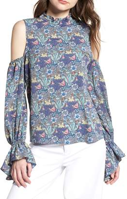 Bishop + Young BISHOP AND YOUNG Floral Cold Shoulder Top