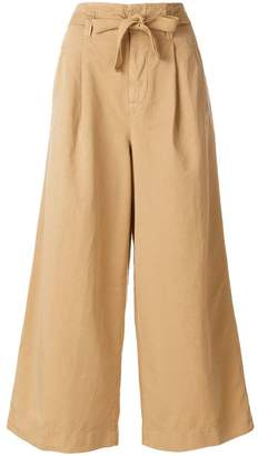 Incotex tie waist wide leg trousers