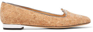 Charlotte Olympia Kitty Embroidered Cork Slippers - Beige