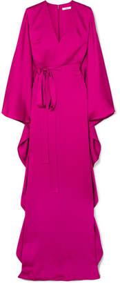 Safiyaa Aurora Hammered Silk-satin Gown - Magenta