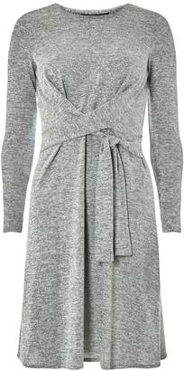 Dorothy Perkins Womens Grey Knot Brushed Fit And Flare Dress