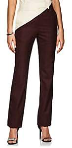Calvin Klein Women's Plaid Wool Straight Trousers - Burgundy Black Red Cream