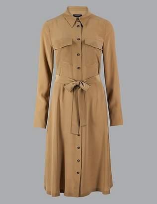 Marks and Spencer Pure Silk Long Sleeve Shirt Midi Dress
