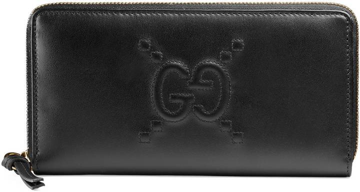 Gucci Embossed GG zip around wallet