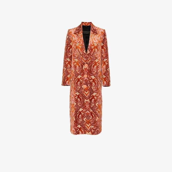 Damask Velvet Jacquard Tailored Coat
