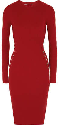Mugler - Embellished Ribbed-knit Dress - Claret $955 thestylecure.com