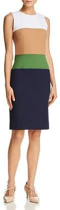 Paule Ka Color-Blocked Stretch Sheath Dress