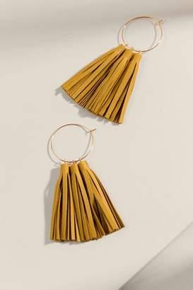 francesca's Adrianna Leather Tassel Earrings - Mustard