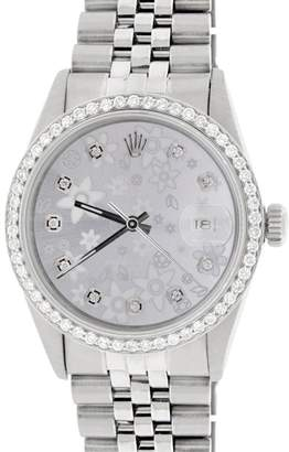 Rolex Datejust Steel Jubilee with Silver Flower Dial & Diamond Bezel 36mm Watch