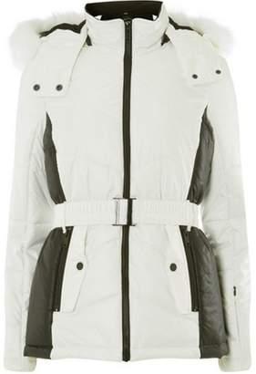Dorothy Perkins Womens White Faux Fur Hood Ski Jacket