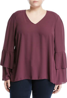 Melissa McCarthy Tiered-Sleeve V-Neck Blouse, Plus Size