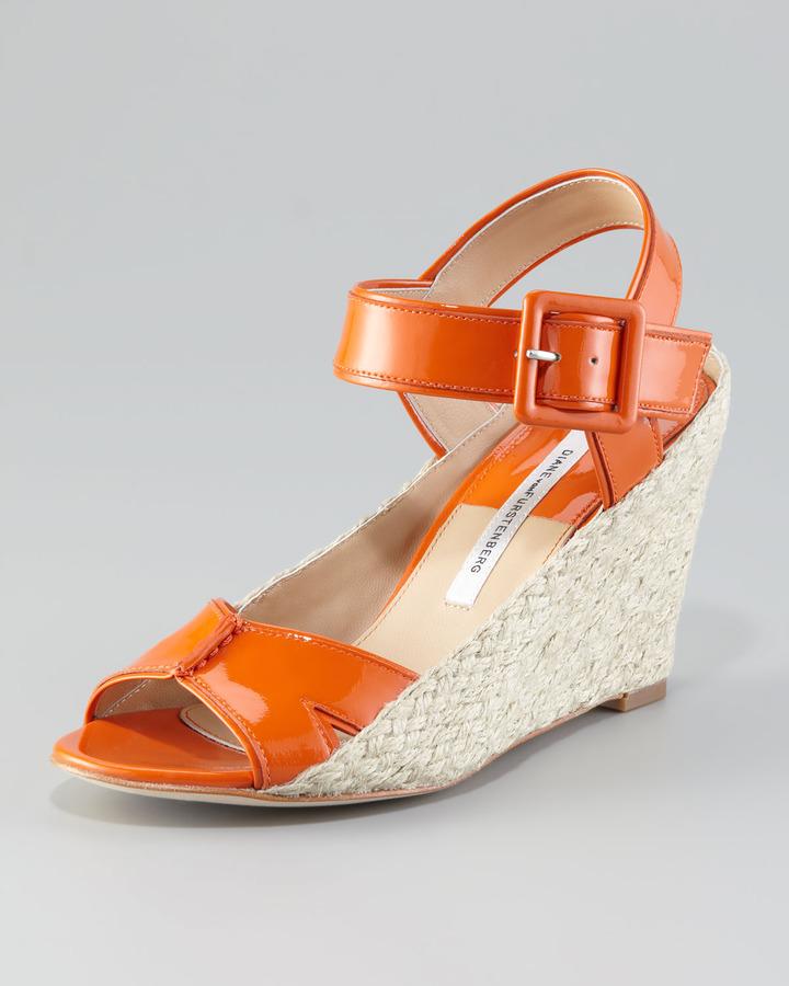 Diane von Furstenberg Sudan Patent Wedge Sandal